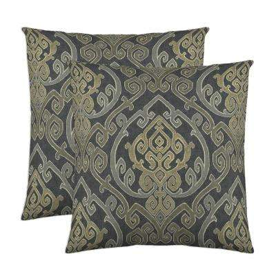 Zaya 18 in. x 18 in. Charcoal Decorative Pillow (2-Pack)