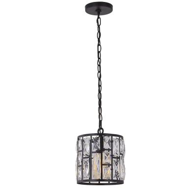 1-Light Matte Black Pendant with Clear Crystal Shade