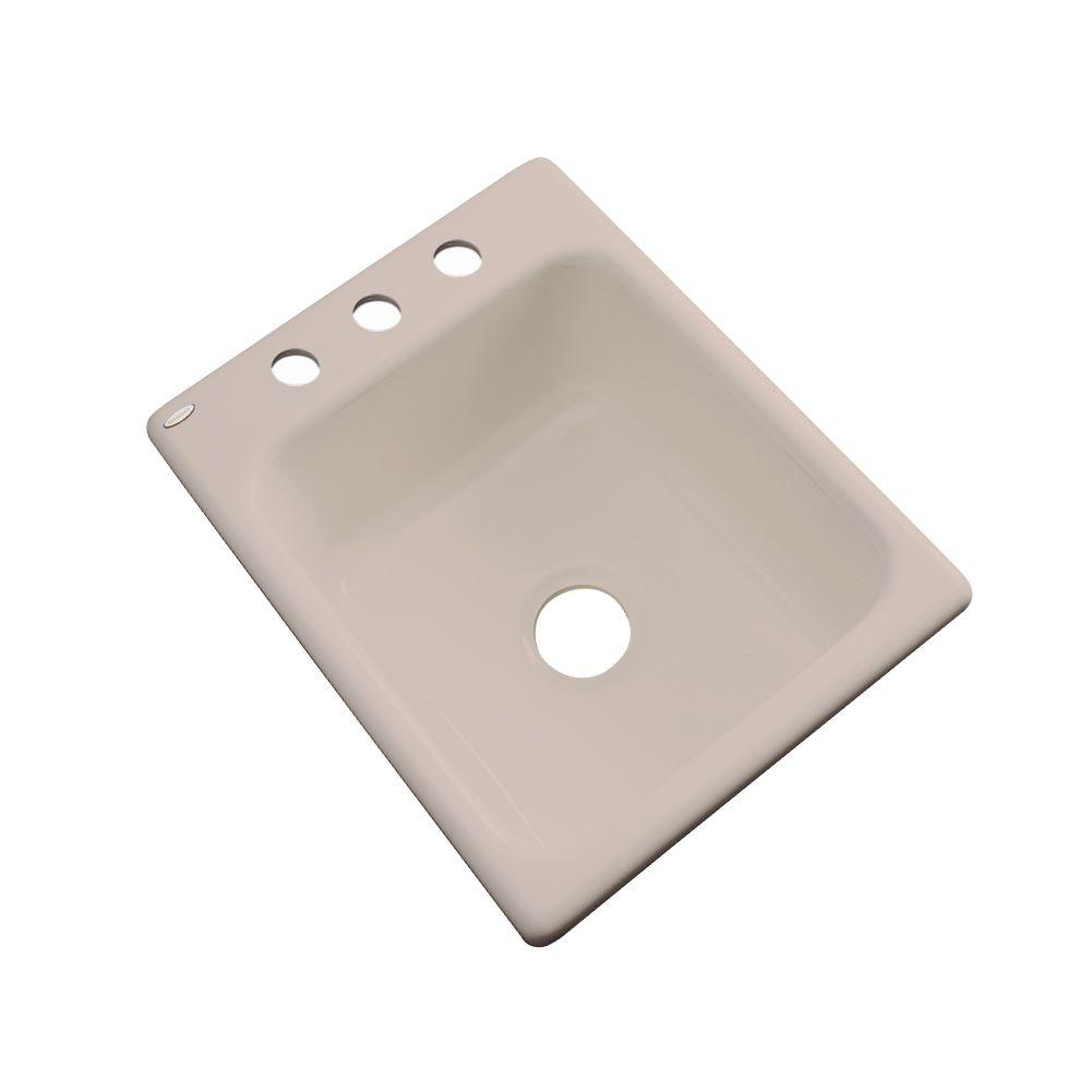 Thermocast Crisfield Drop-In Acrylic 17 in. 3-Hole Single Bowl Prep Sink in Fawn Beige