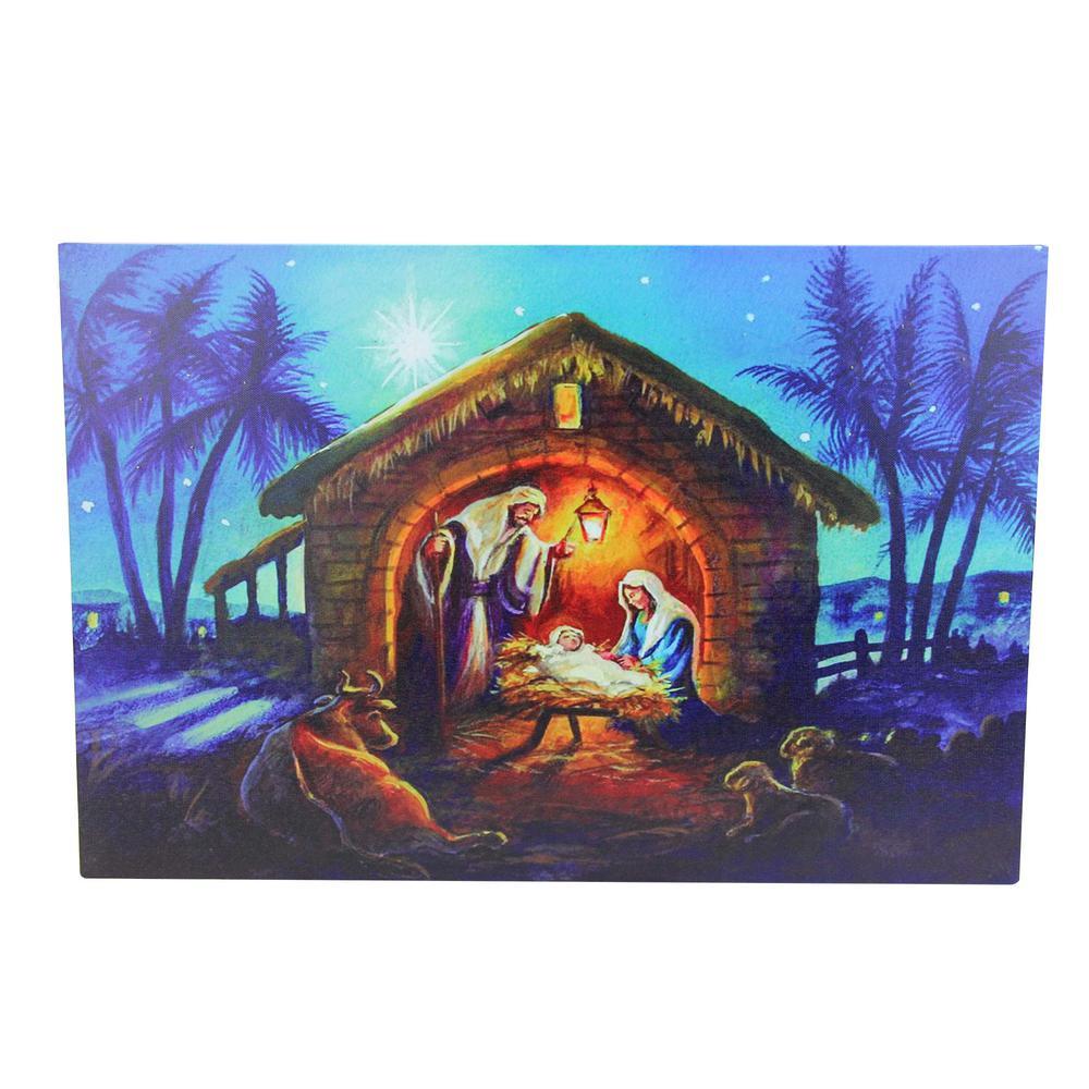 15.75 in. LED Fiber Optic Lighted Nativity Scene Christmas Wall Art