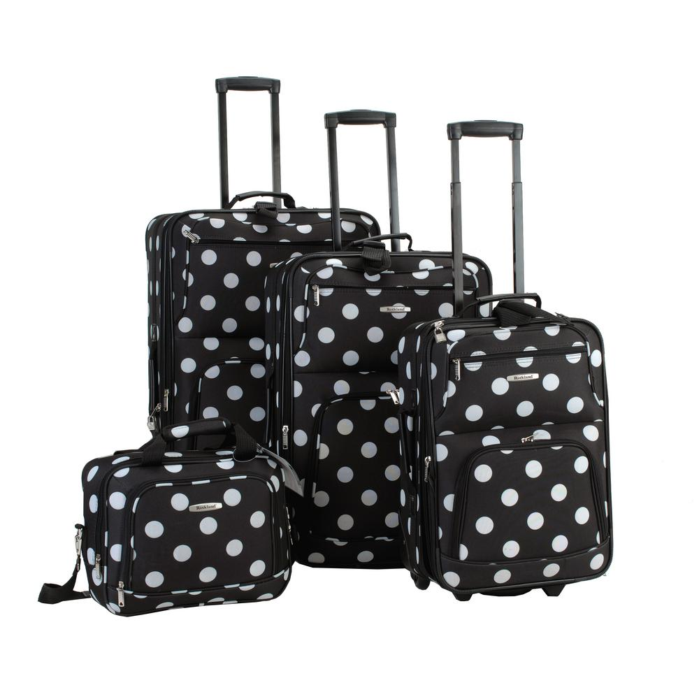 Rockland Beautiful Deluxe Expandable Luggage 4-Piece Softside Luggage Set, Blackdot