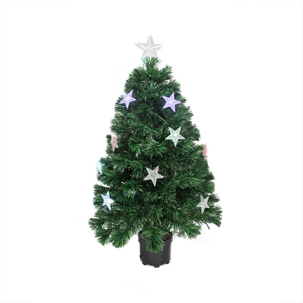 Artificial Christmas Trees Pre Lit Led: Northlight 4 Ft. Pre-Lit LED Color Changing Fiber Optic