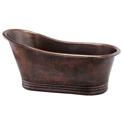5.58 ft. Hammered Copper Single Slipper Flatbottom Non-Whirlpool Bathtub in Oil Rubbed Bronze