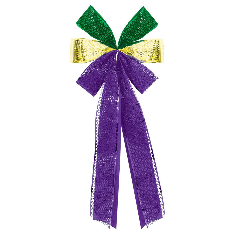 AMSCAN 28 in. Mardi Gras Green, Purple and Gold Flocked D...