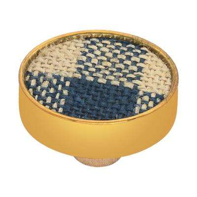 Basketweave 1-3/5 in. Checkered Blue and Brown Cabinet Knob