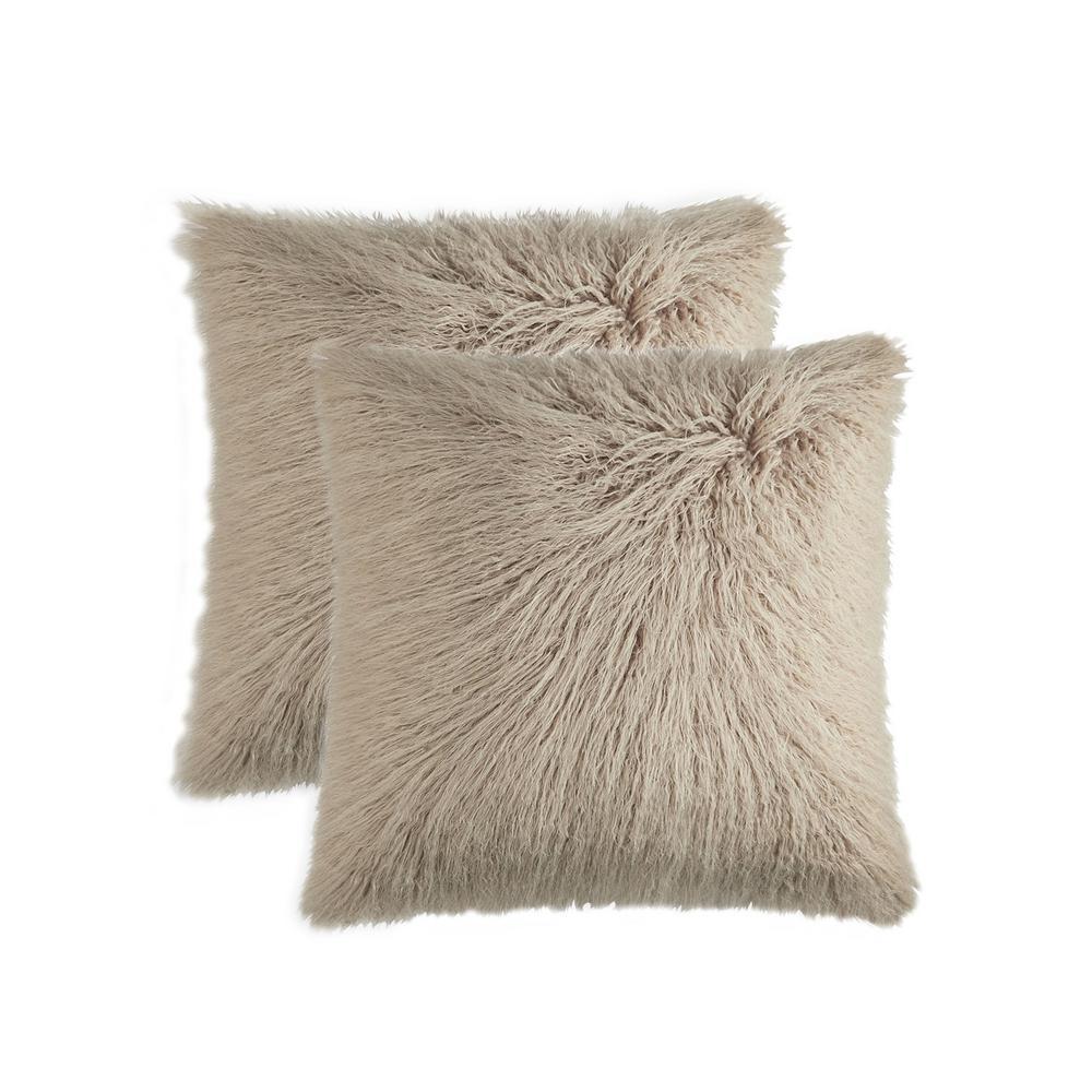 Frisco Mongolian Tan 20 in. x 20 in. Faux Sheepskin Fur Pillow (2-Pack)
