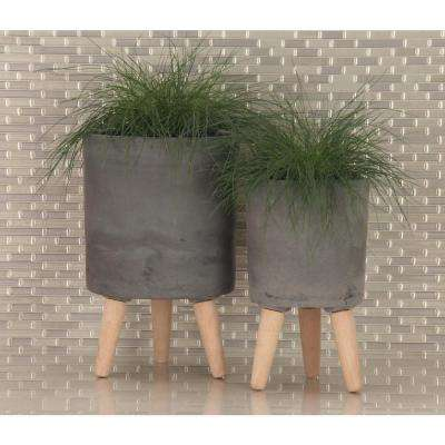 Large: 17 in., Medium: 15 in., Small: 12 in. Black Fiber Wood Planters (3-Pack)