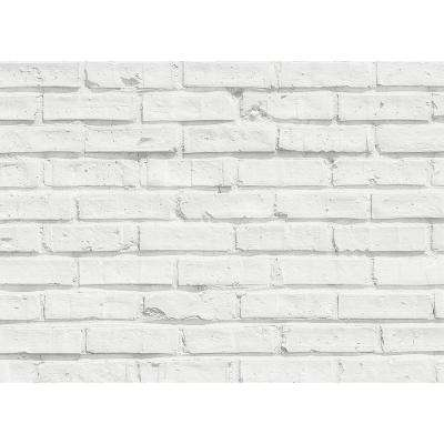 25.6 in. x 18.5 in. White Bricks Kitchen Panel Wall Decal