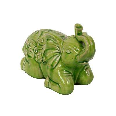 7.5 in. H Elephant Decorative Figurine in Green Gloss Distressed Finish