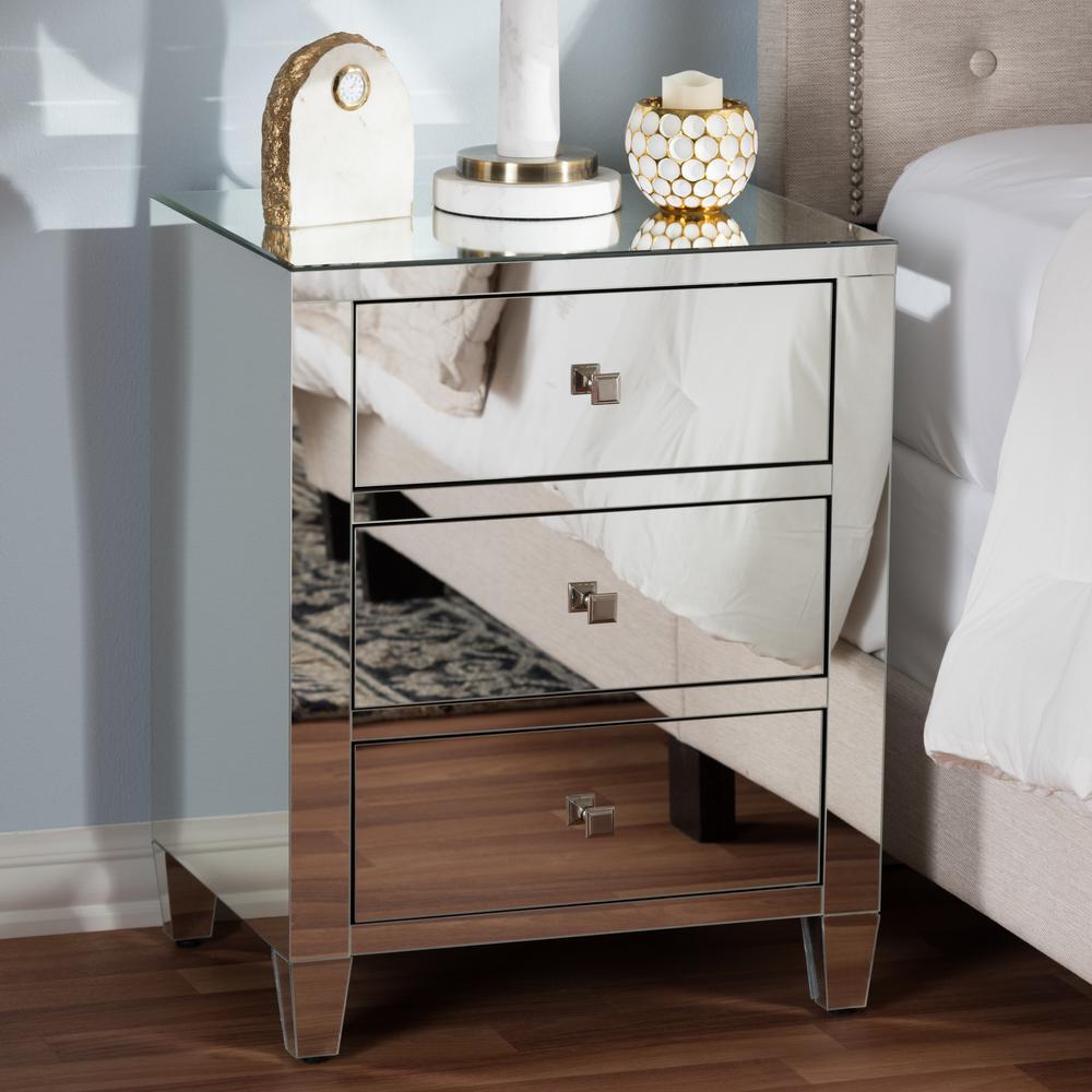 metallic accent chest silver mirror storage drawer itm wood dresser bedroom with
