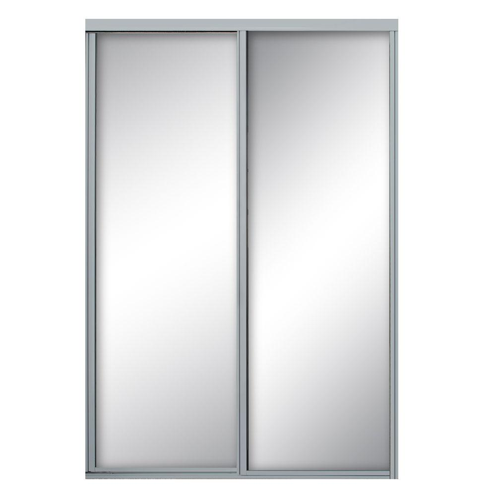 Contractors Wardrobe 60 in. x 81 in. Concord Satin Clear Aluminum Framed Mirror Sliding Door