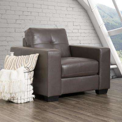 Club Tufted Brownish-Grey Bonded Leather Chair