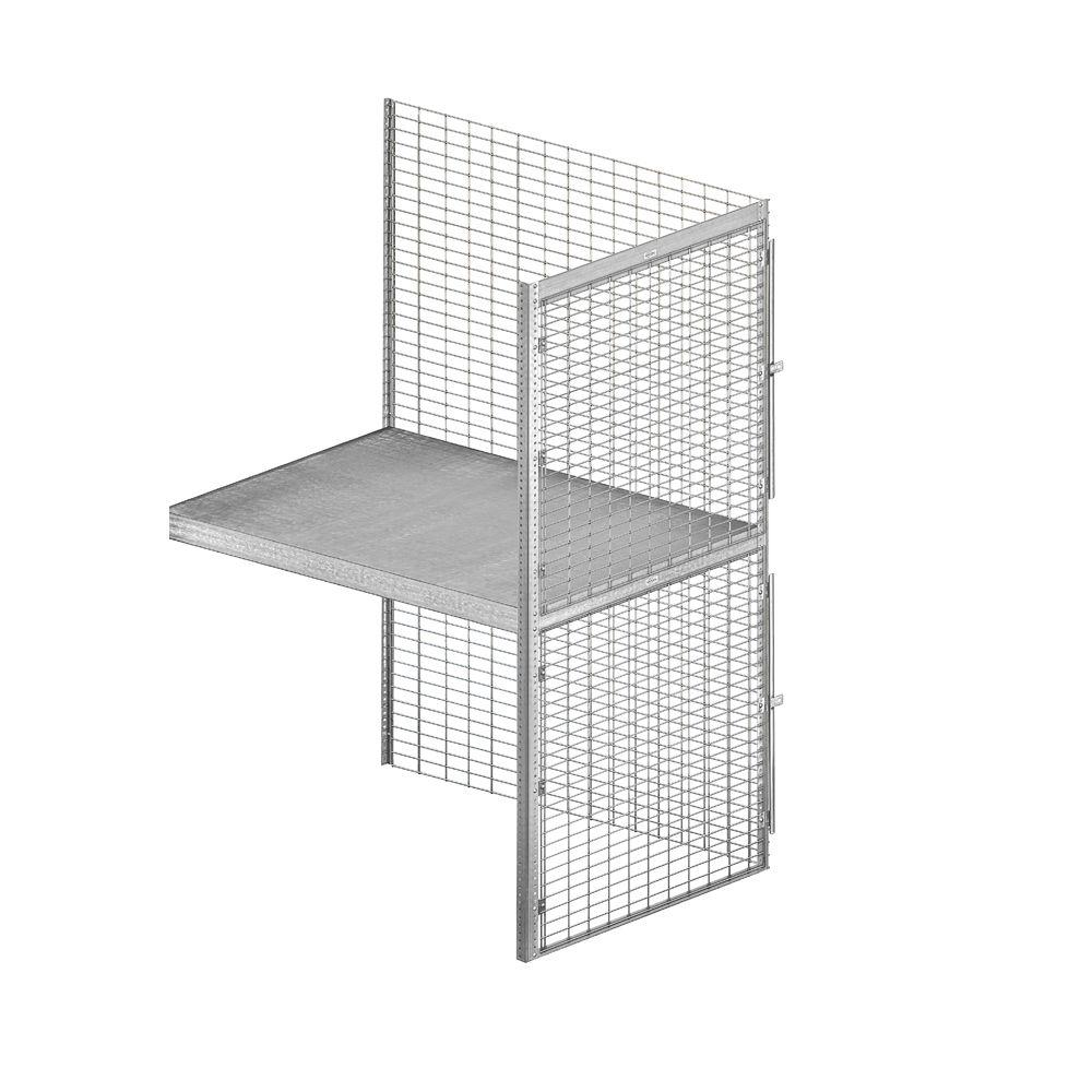 Salsbury Industries 8200 Series 36 in. W x 90 in. H x 48 in. D 2-Tier Wire Bulk Storage Locker with Add-On in Aluminum