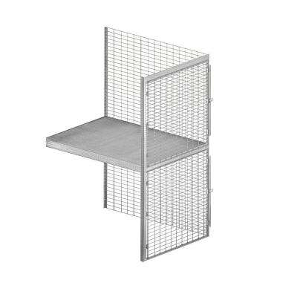 8200 Series 36 in. W x 90 in. H x 48 in. D 2-Tier Wire Bulk Storage Locker with Add-On in Aluminum