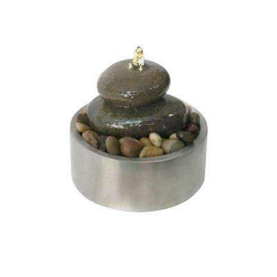 Illuminated Relaxation Fountain with Authentic River Rocks and Stainless Steel Base