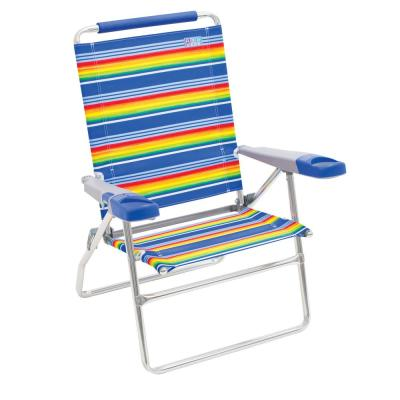 15 in. 4-Position Aluminum Striped Tall Beach Chair with Bottle Opener and Cell Phone/Beverage Holders