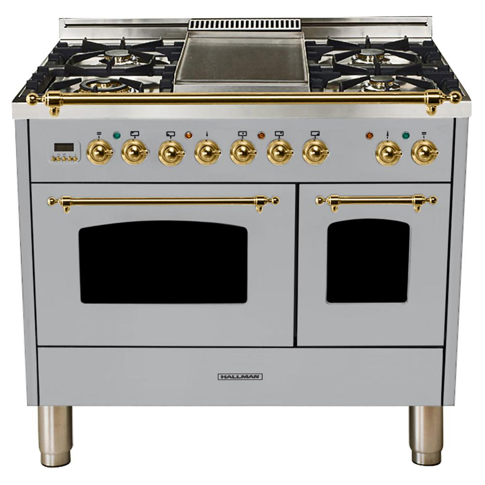 Hallman 40 In 4 0 Cu Ft Double Oven Dual Fuel Italian Range True Convection 5 Burners Griddle Br Trim Stainless Steel