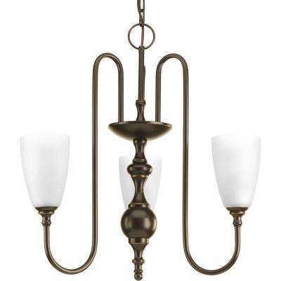 Revive Collection 3-Light Antique Bronze Chandelier with Etched Fluted Glass Shade