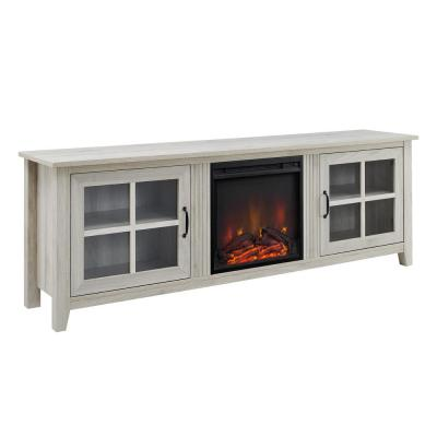 70 in. Birch Wood and Glass Windowpane TV Stand with Fits TVs up to 80 in. with Electric Fireplace