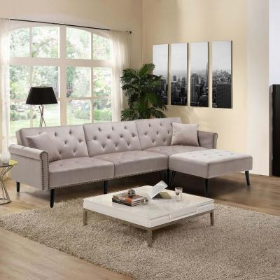 115 in. Gray Velvet 3-Seater Full Sleeper Sectional Sofa Bed with Tapered Legs