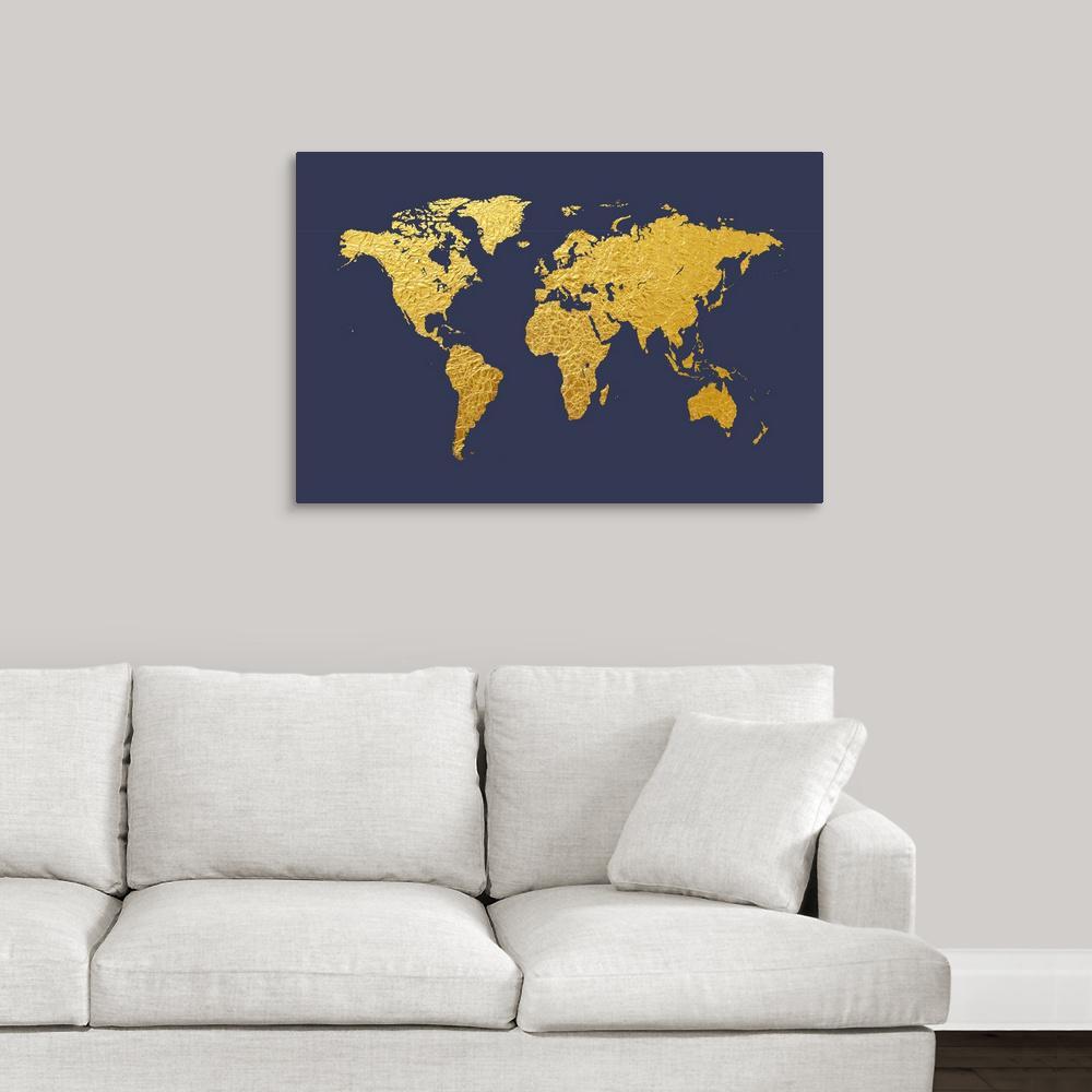 Greatbigcanvas World Map In Gold Foil Navy By Michael Tompsett