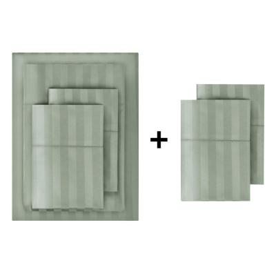 500 Thread Count Egyptian Cotton Sateen 6-Piece Queen Sheet Set in Willow Green Damask