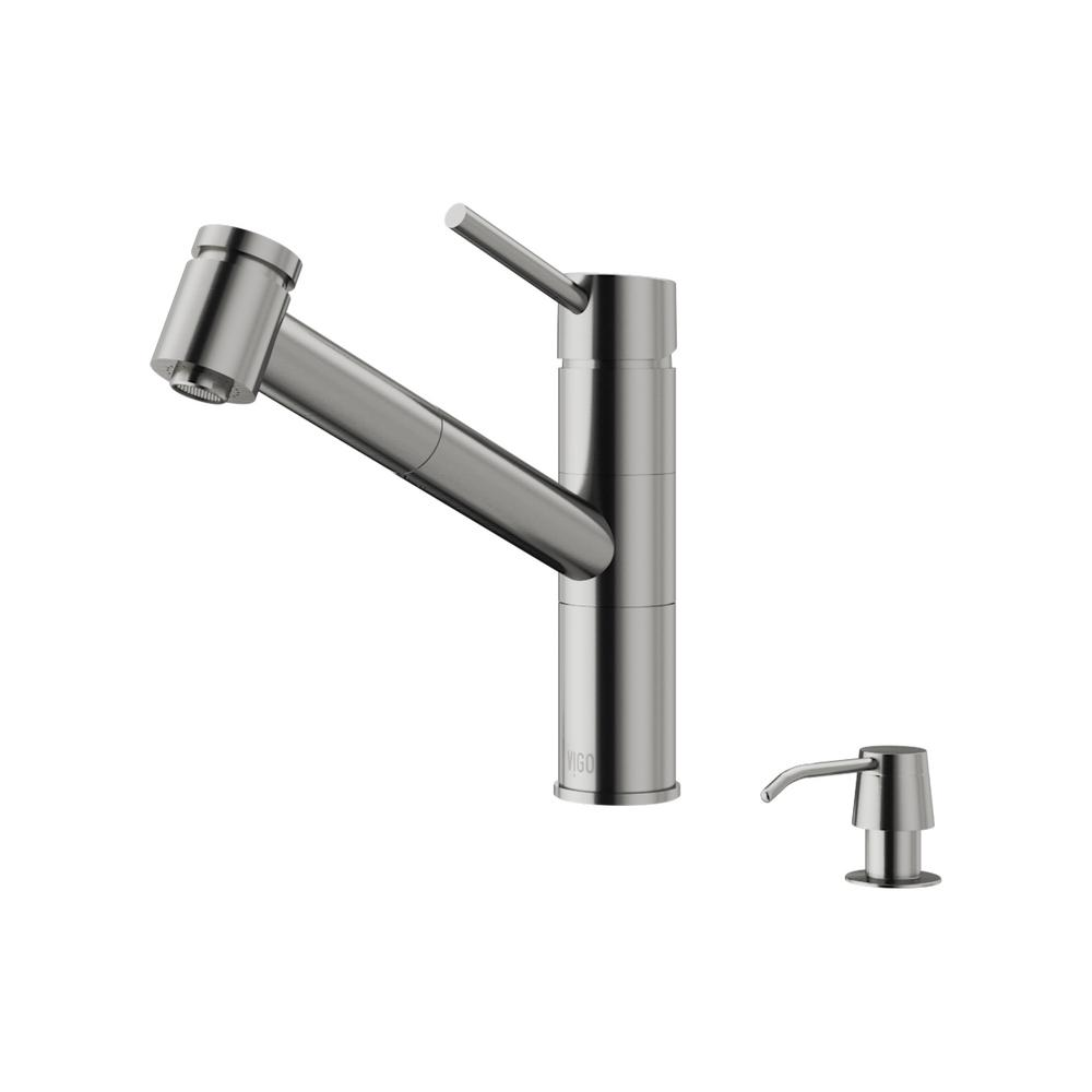 Branson Single Handle Pull Out Sprayer Kitchen Faucet With Soap Dispenser In
