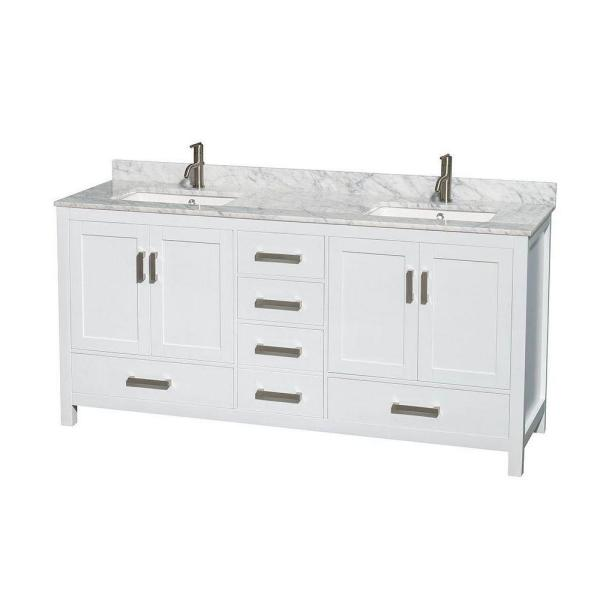 Wyndham Collection Sheffield 72 in. Double Vanity in White with