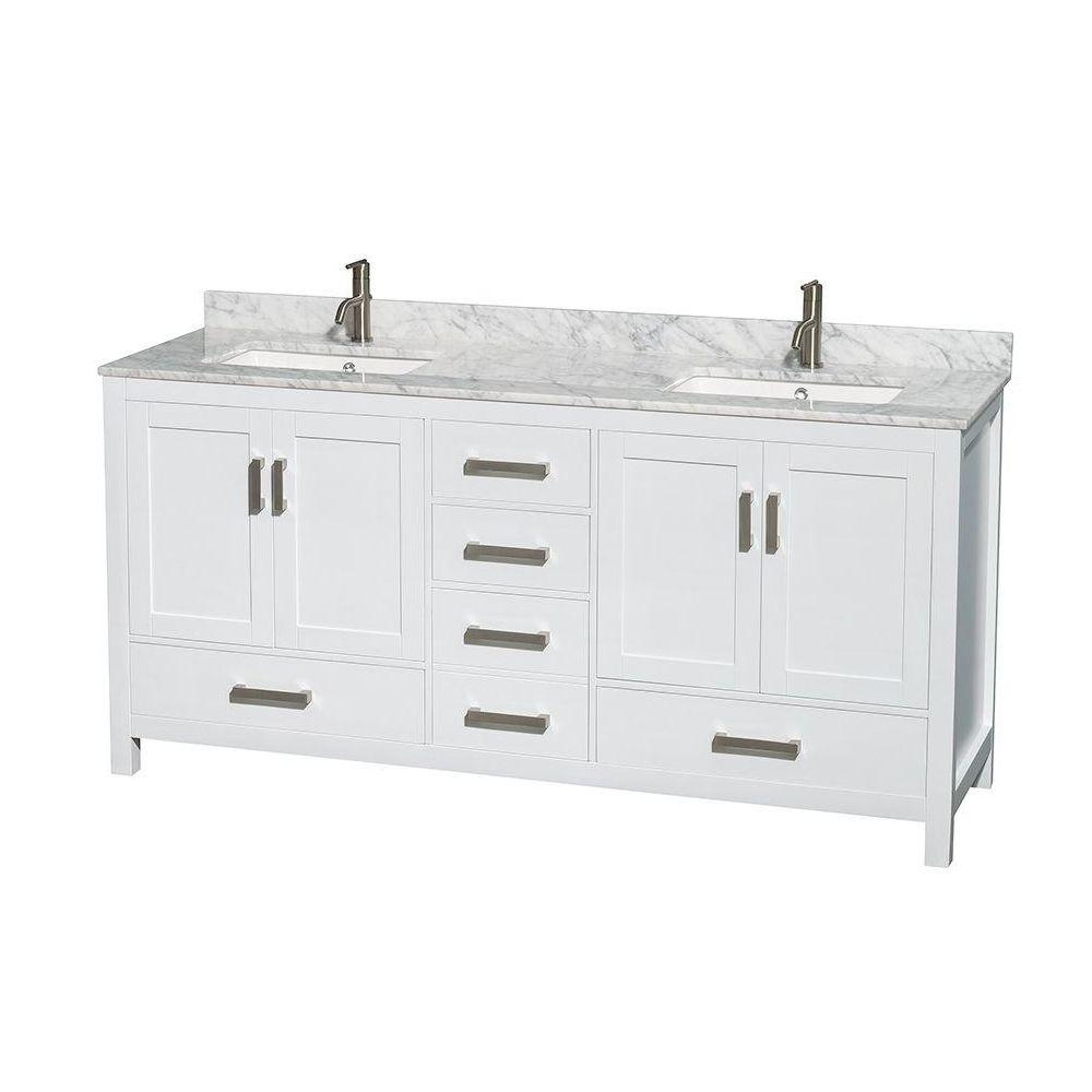 5 foot double vanity. Double Vanity in White with Marble Top Carrara 72 Inch Vanities  Bathroom Bath The Home Depot