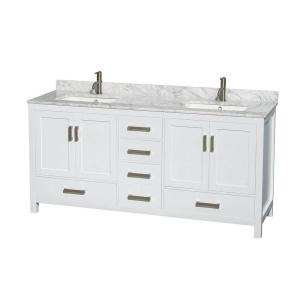 Wyndham Collection Sheffield 72 inch Double Vanity in White with Marble Vanity Top in... by Wyndham Collection