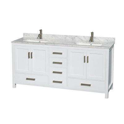Sheffield 72 in. Double Vanity in White with Marble Vanity Top in Carrara White