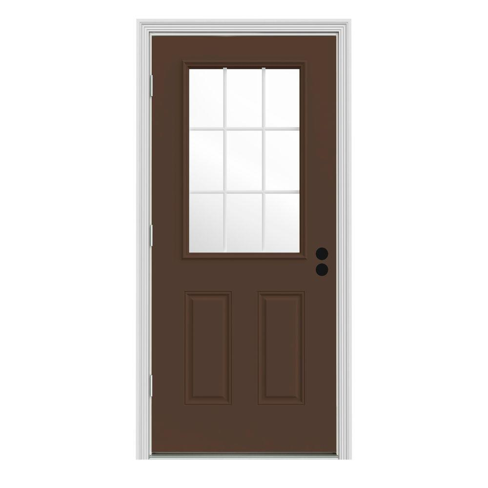 Jeld wen 30 in x 80 in 9 lite dark chocolate painted steel prehung right hand outswing front 30 exterior door with glass