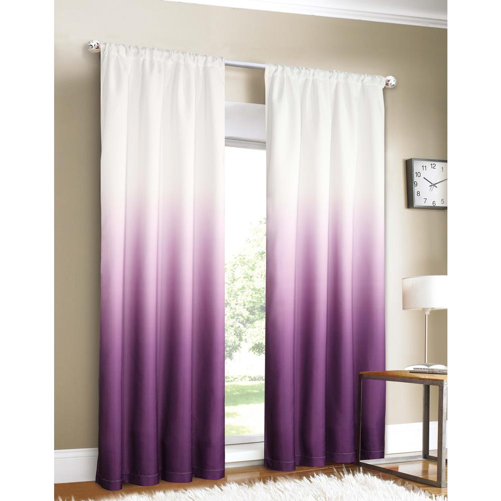 Dainty Home Shades 40 in. W x 84 in. L Ombre Design Window Panel Pair in Purple (2-Pack)