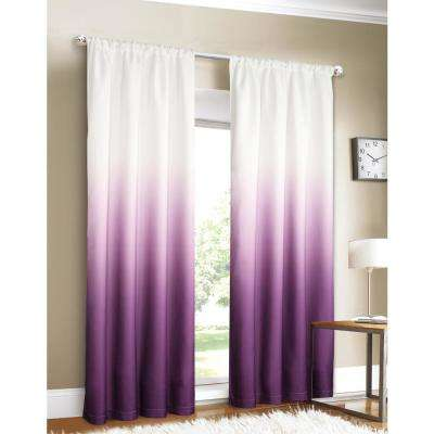 Shades 40 in. W x 84 in. L Ombre Design Window Panel Pair in Purple (2-Pack)