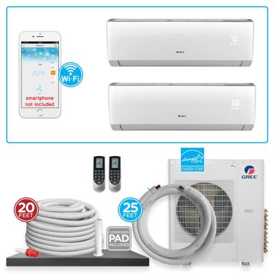 Multi-21 Dual Zone 21,000 BTU Wi-Fi Ductless Mini Split Air Conditioner & Heat Pump with 25 ft. Install Kit - 230V/60Hz