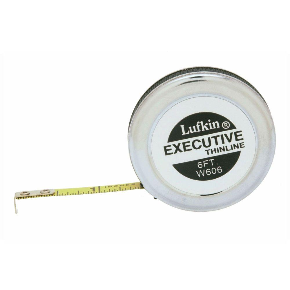 Lufkin W606 1//4 inch X 6 foot Executive Thinline Steel Pocket Tape Measure Rule