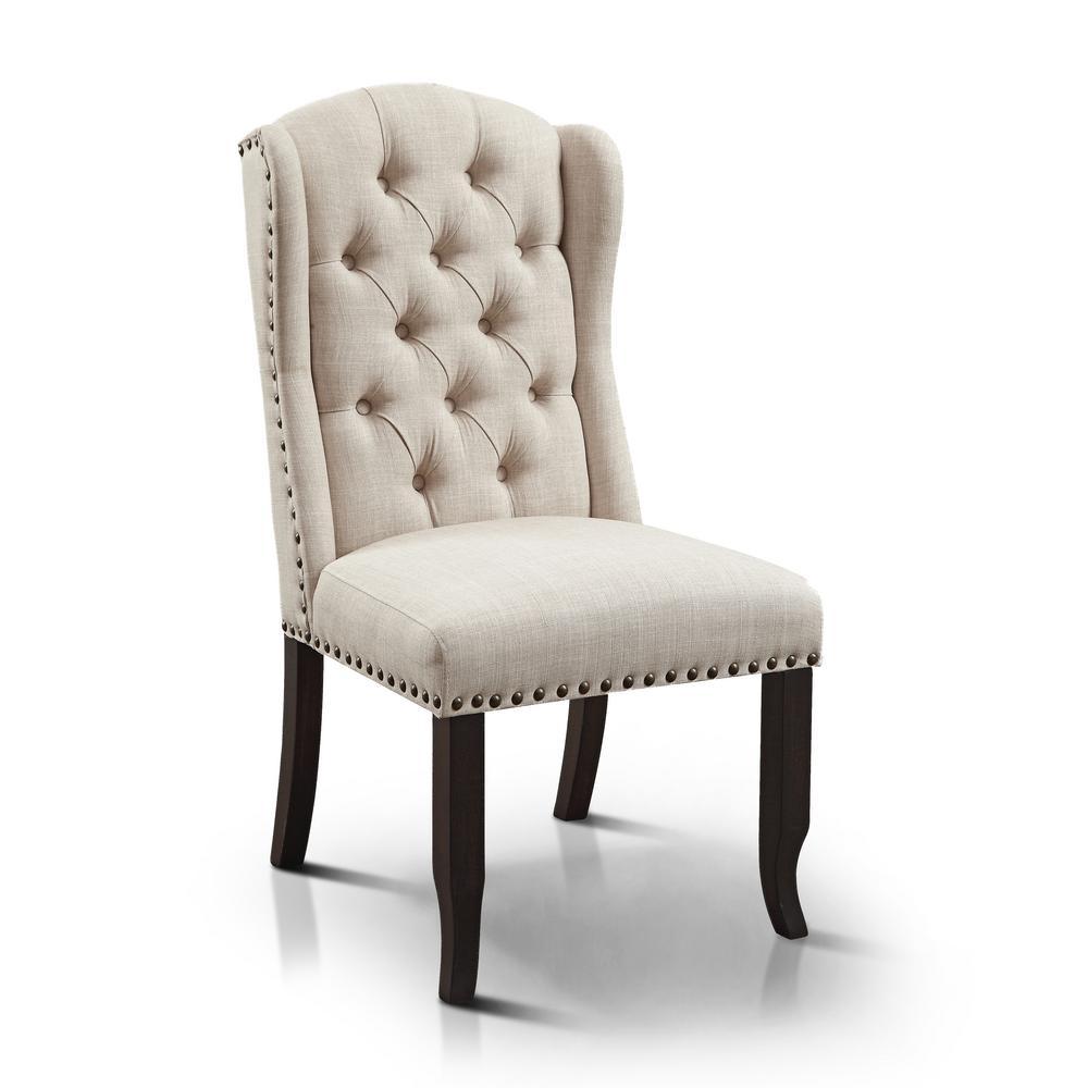 Regita Beige Linen Wingback Side Chair (Set Of 2)