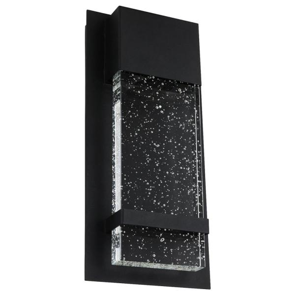 Sunlite 1 Light 6 5 In Wide Black Led Modern Indoor Outdoor Wall Sconce With Rain Glass Panel Daylight 5000k Hd02383 1 The Home Depot