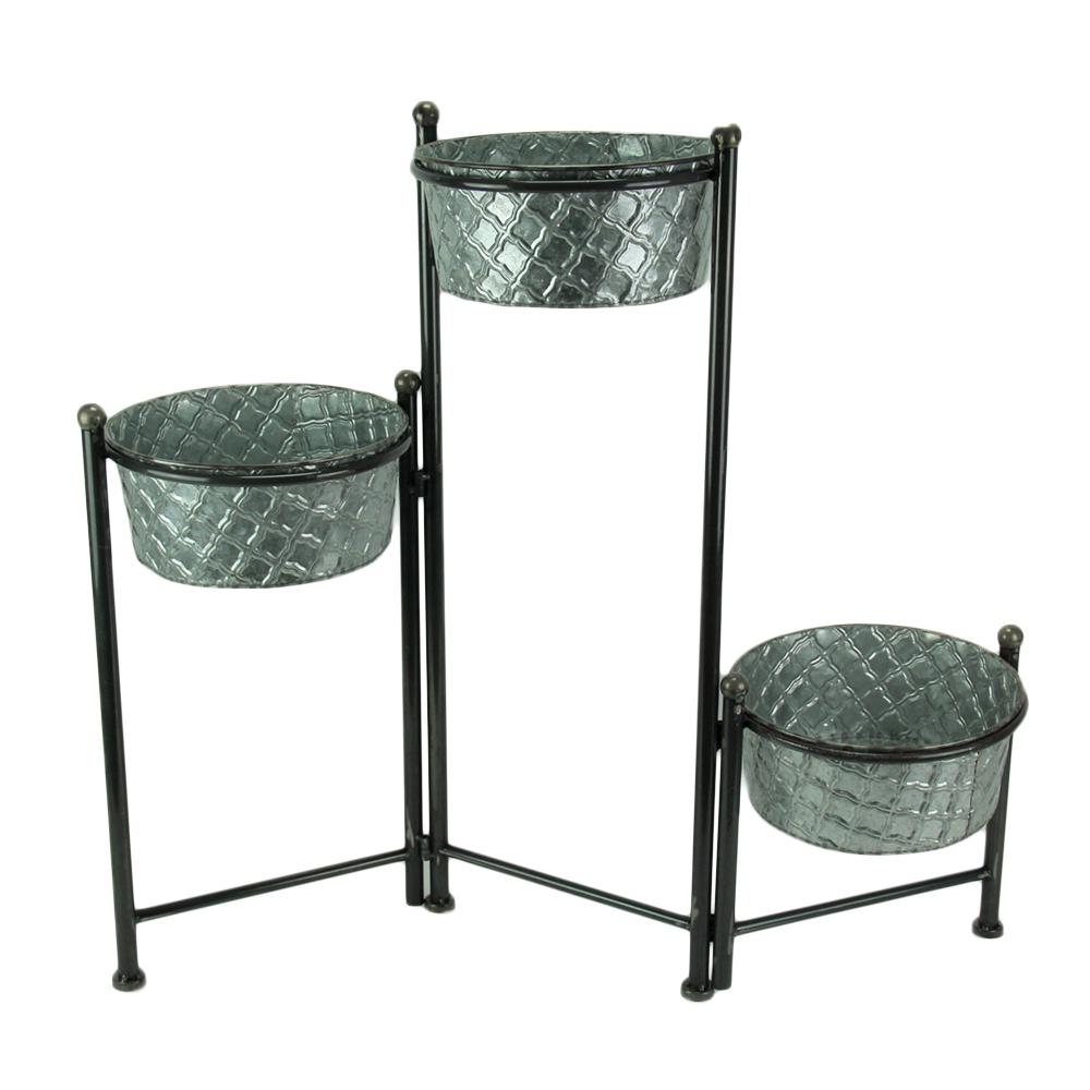 Transpac 3 Tier Folding Plant Stand With Galvanized Metal Planters