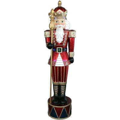 6 ft. Christmas Jeweled Nutcracker Greeter with Staff and 22 Long-Lasting LED Lights