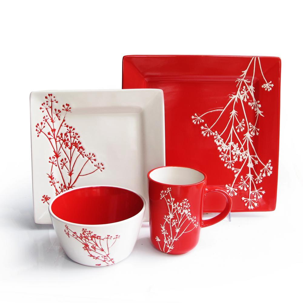 16-Piece Blossom Branch Red Dinnerware Set