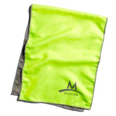 Hydro Active 12 in. x 33 in. High Vis Green Microfiber Large Cooling Towel