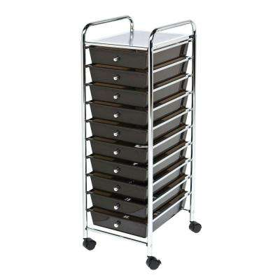 10-Drawer Steel Organizer Cart in Black