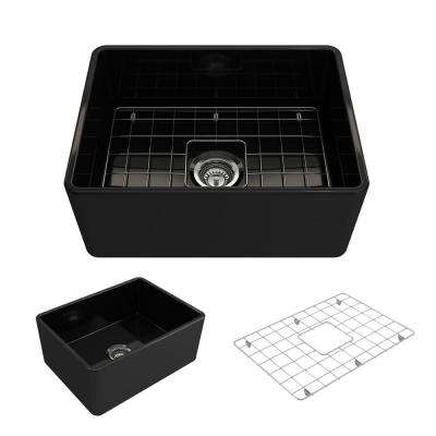 Classico Farmhouse Apron Front Fireclay 24 in. Single Bowl Kitchen Sink with Bottom Grid and Strainer in Black