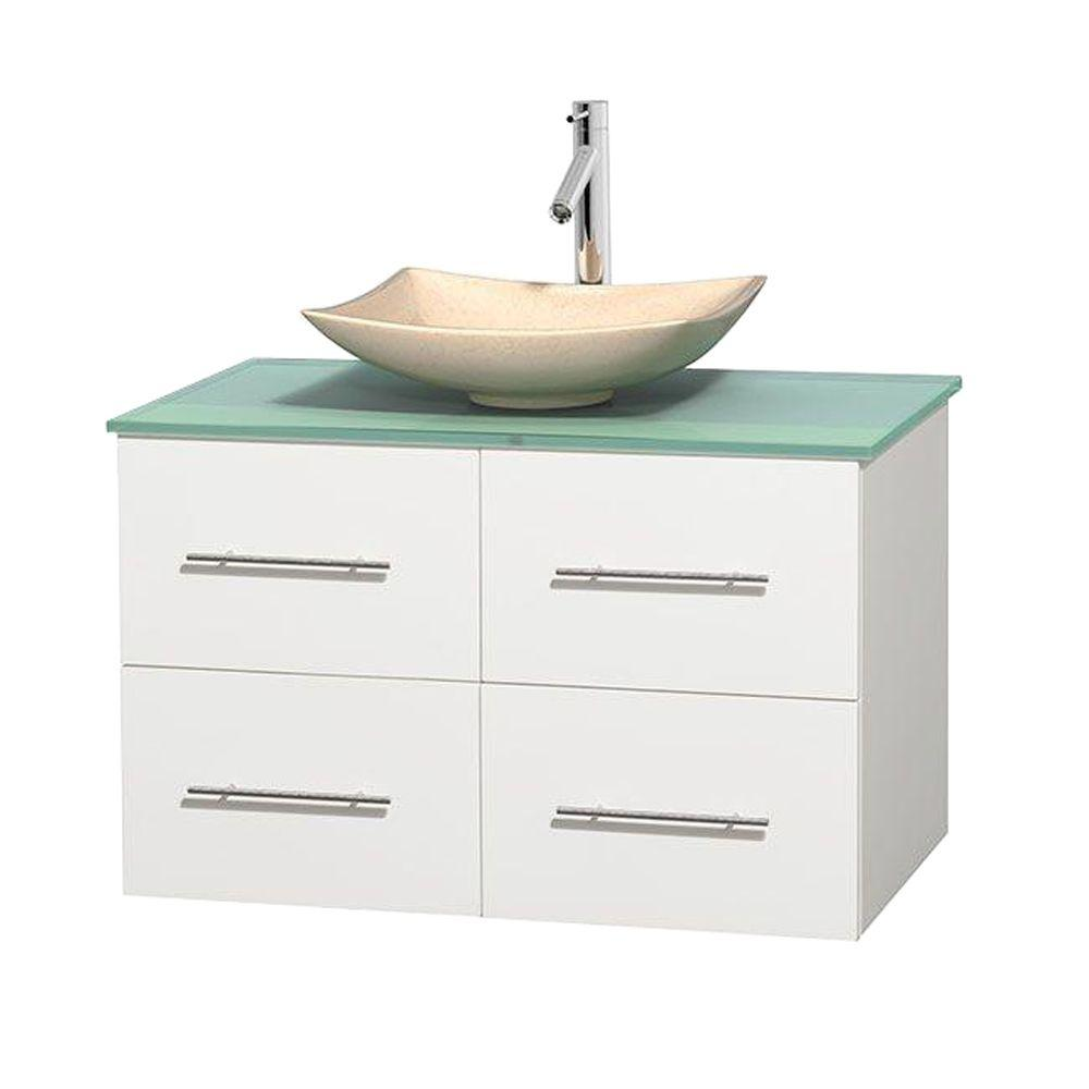 Wyndham Collection Centra 36 in. Vanity in White with Glass Vanity Top in Green and Sink