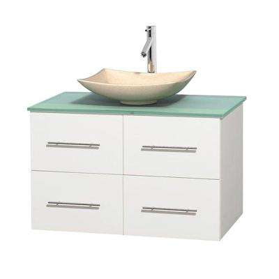Centra 36 in. Vanity in White with Glass Vanity Top in Green and Sink