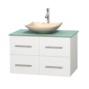 Wyndham Collection Centra 36 inch Vanity in White with Glass Vanity Top in Green and Sink by Wyndham Collection