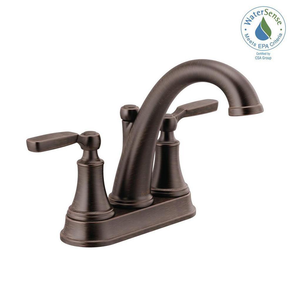 Woodhurst 4 in. Centerset 2-Handle Bathroom Faucet in Venetian Bronze