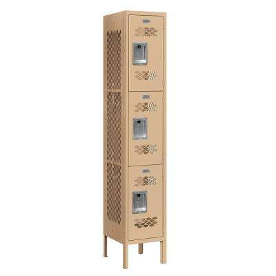 73000 Series 3-Tier 12 in. W x 66 in. H x 12 in. D Vented Metal Locker Ready to Assemble in Tan