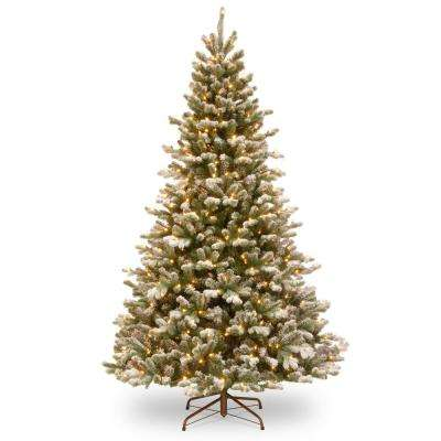 7.5 ft. PowerConnect(TM) Snowy Sheffield Spruce with Warm White LED Lights